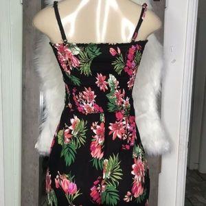 Dresses - Black tropical floral jumpsuit